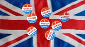 Multiple I Voted Today Stickers With Many Having Been Used For Voters In The British Elections With  poster