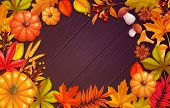 Fall Poster Template With Autumn Foliage Of Maple, Oak, Elm, Chestnut, Nuts, Pumpkin, Wheat And Autu poster