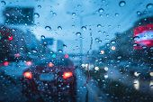Heavy Raining Strom When Drive At Evening Blue Chill Wet Windshield poster