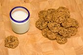 Glass Of Milk And Oatmeal Chocolate Chip Cookies