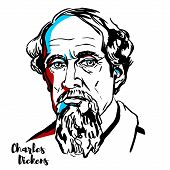 Charles Dickens Engraved Vector Portrait With Ink Contours. English Writer And Social Critic. poster