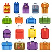 Baggage Suitcase. Handle Travel Bag, Luggage Backpack And Business Suitcases Isolated Flat Vector Se poster