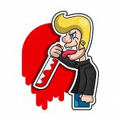 Killer With Bloody Knife In Hand Vector Illustration. poster