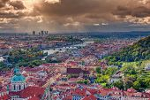 Panorama Of Prague With Vltava River And Prague Bridges Under A Rain Storm. poster