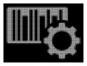 Halftone Dotted Bar Code Settings Icon. White Pictogram With Dotted Geometric Structure On A Black B poster