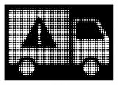 Halftone Pixel Danger Transport Truck Icon. White Pictogram With Pixel Geometric Structure On A Blac poster