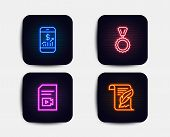 Neon Glow Lights. Set Of Mobile Finance, Video File And Medal Icons. Feather Sign. Phone Accounting, poster
