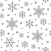 Seamless Pattern With Black Snowflakes On White Background. Flat Line Snowing Icons, Cute Snow Flake poster