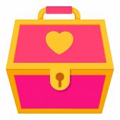 Pink Treasure Chest For A Princess Icon. Cartoon Illustration Of Pink Treasure Chest For A Princess  poster