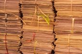 Stack Of Old Documents With Rope, Papers Turns Yellow, Are Set In Archive On The Floor Ready To Be P poster