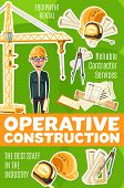 Builder Profession, Operative Construction Service. Man In Glasses And Helmet, Divider And Building  poster