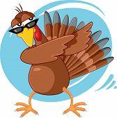 Funny Turkey Ready For Celebration Vector Cartoon poster