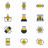 Illustration Of 12 Health Icons Line Style. Editable Set Of Medication, Cardiogram, Vial And Other I poster