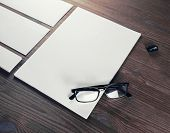 Photo Of Blank Stationery Set On Wood Background. Blank Stationery And Corporate Identity Template.  poster