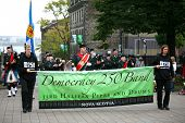 HALIFAX, NS - OCT. 2: Celebration in Halifax, Nova Scotia of 250 yrs of Democracy in Canada.  Canada's 1st elected assembly met there on Oct. 2, 1758. Pictured are the 33rd Halifax Pipe and Drum Band.
