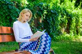 Reading Literature As Hobby. Books Are Her Passion. Girl Sit Bench Relaxing With Book, Green Nature  poster