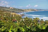 A view of the town and the great surfer beach a Bathsheba, on the Atlantic side of Barbados.