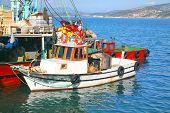 Turkish fishing boats tied up in Kusadasi, Turkey.