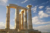 stock photo of poseidon  - Ruins of Poseidon Temple at Cape Sounion near Athens - JPG
