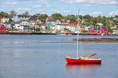 View of the harbour and waterfront of Lunenburg, Nova Scotia, Canada. Lunenburg is a historic port t