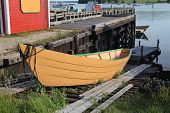 picture of dory  - A traditional wooden dory on a slipway in Lunenburg - JPG