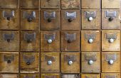 Old Wooden Boxes For Forms. Old Archive Or Library. poster