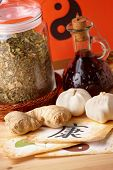 Traditional alternative therapy or medicine, herbs and natural remedies; concept of healthy lifestyle; Chinese symbols of health