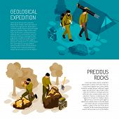 Geologist 2 Isometric Horizontal Background Banners With Expedition Fieldwork Gear And Rocks Mineral poster