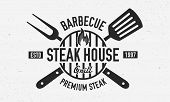 Steak House, Barbecue Restaurant Logo, Poster. Bbq Trendy Logo With Barbecue Grill , Spatula And Gri poster