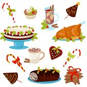Flat Vector Set Of Traditional Christmas Food And Drinks. Tasty Chicken For Holiday Dinner. Deliciou poster