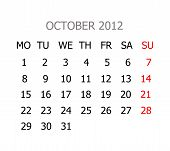 Simple Calendar For Years 2012