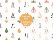 Four Seamless Patterns With Handdrawn Christmas Trees, Vector Eps10 Illustration poster