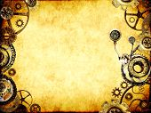 Grunge background with paper texture and metallic frame with vintage machine gears and cogwheel. Moc poster