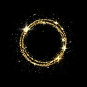 Glitter Gold Circle Frame With Space For Text. Sparkling Golden Frame On Black Background. Bright Gl poster