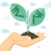 Flat Design Business Concept With Hand Holdig Soil With Growing Indian Rupee Sprout. Vector Concept  poster