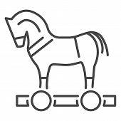 Trojan Horse Virus Icon. Outline Trojan Horse Virus Vector Icon For Web Design Isolated On White Bac poster