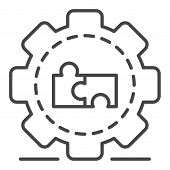 Full Puzzle Cog Wheel Icon. Outline Full Puzzle Cog Wheel Vector Icon For Web Design Isolated On Whi poster