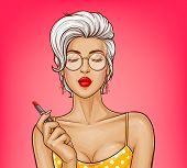 Vector Sexy Girl With Attractive Lips In Yellow Dotted Shirt Holds Red Lipstick. Ash Blonde Woman In poster