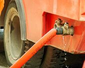 Hoses To Quench The Fire Connecting With Water Pump Valves Of Fire Truck And Turn On  Water To Fire  poster