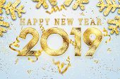 Creative Background, 2019 Happy New Year. Gold Numbers Design Of Greeting Card Of. Gold Shining Patt poster