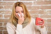 Woman Feels Badly Ill Sneezing. Cold And Flu Remedies. Girl In Scarf Hold Tissue Or Napkin Suffer He poster