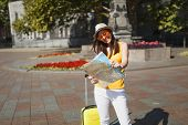Laughing Traveler Tourist Woman In Hat, Yellow Clothes, Orange Heart Glasses With Suitcase Hold City poster