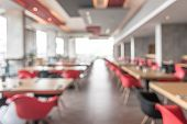 Canteen, Cafeteria, Hotel Restaurant Blur Background With Blurry Dining Table And Chair In School Or poster