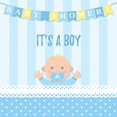 Baby Shower Boy Card. Vector. Sweet Blue Banner With Newborn Kid, Flags, Polka Dot Pattern. Baby Boy poster