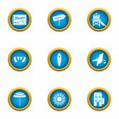 Beach Tan Icons Set. Flat Set Of 9 Beach Tan Vector Icons For Web Isolated On White Background poster