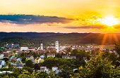 Townscape Of Historic Old Town Sulzbach-rosenberg, Germany Bavaria, With Beautiful Sunset Sky poster