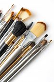 image of makeup artist  - cosmetic brushes isolated on white - JPG
