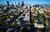 Aerial Denver Colorado Skyline Cityscape Under Perfect Morning Sunshine In The Mile High City With L poster