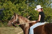 foto of bareback  - A Cowgirl On Her Horse Taking A Trail ride - JPG