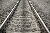 Modern railroad track and crushed stone
